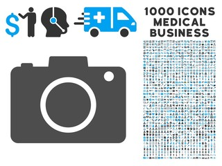 Photo Camera icon with 1000 medical business gray and blue vector pictographs. Set style is flat bicolor symbols, white background.