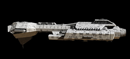 Space Ship on Black - side view, science fiction illustration