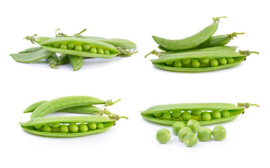 Fresh peas isolated on a white background