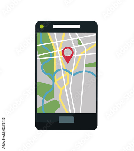 smartphone and map icon gps navigator location travel and route heme colorful design vector. Black Bedroom Furniture Sets. Home Design Ideas