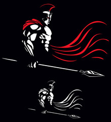 Spartan / Illustration of Spartan warrior on black background in 2 color versions.