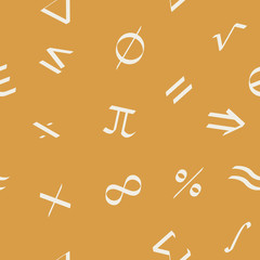 Seamless pattern with irish mathematical symbols for your design