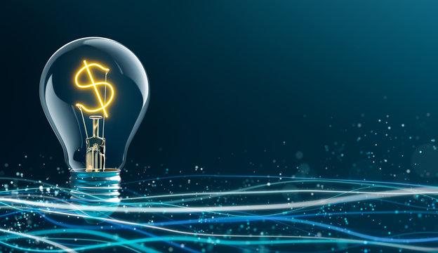 Glowing Dollar Sign in Light Bulb