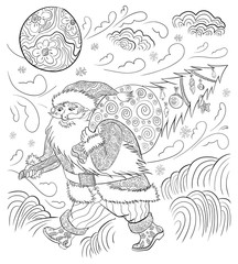 Santa Claus with a Christmas tree and a bag of gifts in a doodle style. In the sky the moon and clouds, wind, flying snowflakes. On the ground lay the snow drifts. Adult coloring book.