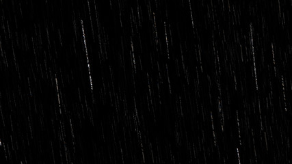 Falling raindrops footage animation in realtime on black background, black and white luminance matte, rain animation with start and end, perfect for film, digital composition, projection mapping