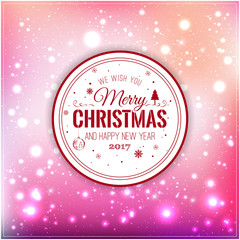 Christmas And New Year Typographical on Pink Xmas background with snowflakes, light, stars. Vector Illustration. Xmas card