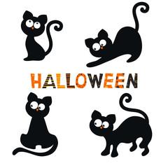 Set of black cats.