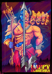 Lord Rama and Ravana in Dussehra Navratri festival of India poster
