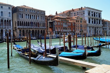 Pier of gondolas. Venice
