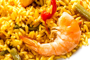 typical Spanish paella and shrimp