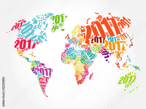 2017 Happy New Year World Map In Typography Word Cloud Collage