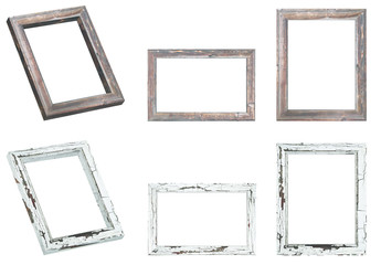 Wooden frame Set with isolated background