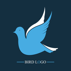 Blue Bird. Vector logo. Flying dove icon.
