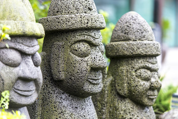 Stone idol - hareubang on Jeju island in South Korea