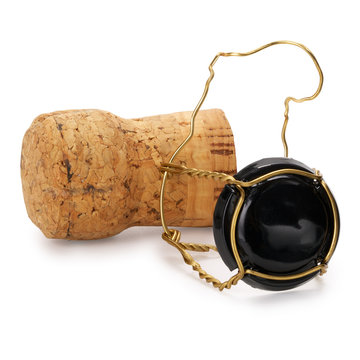 Champagne cork, contains clipping path.