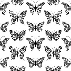 Seamless pattern with butterflies created from abstract floral tracery on a white background