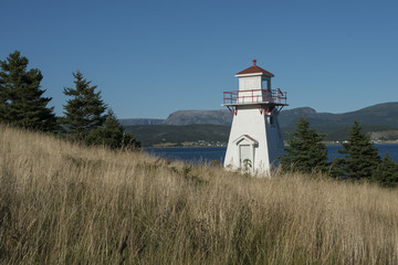 Woody Point Lighthouse at coast, Southeast Brook Falls, Gros Mor