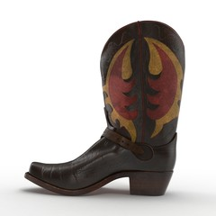 Brown Cowboy Boots with ornamental stitching on white. 3D illustration