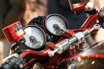 Instrument panel of motorcycle close-up