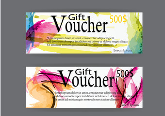 Gift voucher for marketing promotion  watercolor abstract  background