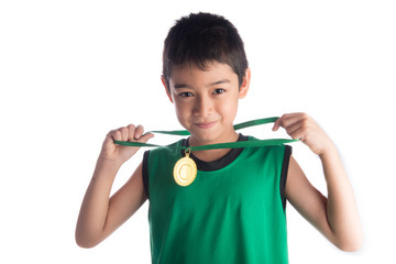 Little boy get gold medal the winner first plact after sport competition