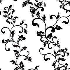 Seamless vector pattern: fantastic flowers on a white background