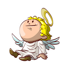 Colorful vector illustration of a cute cartoon angel siting and wearing a white robe.