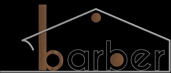 Barber con il simbolo edificio metallo e legno