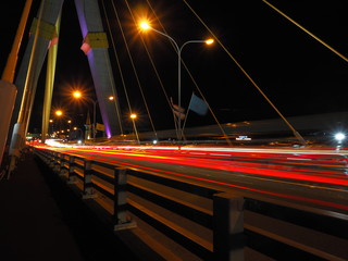 red light on the bridge at the night from thailand