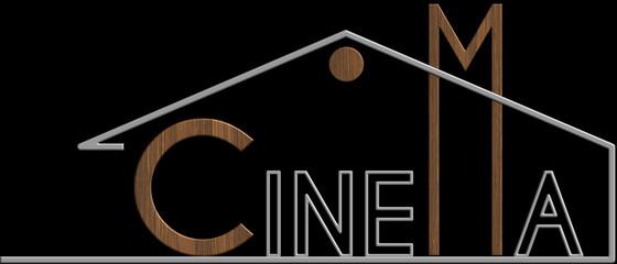 Cinema con il simbolo edificio metallo e legno