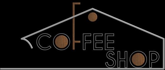 Coffee Shop con il simbolo edificio metallo e legno