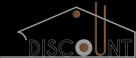 Discount con il simbolo edificio metallo e legno