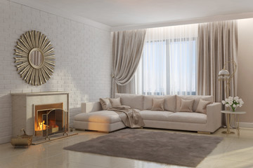 Bright and cozy living room with fireplace and mirror