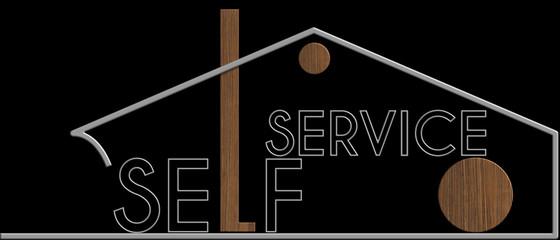 Self Service con il simbolo edificio metallo e legno