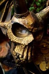 Steel sculpture of Skull guarding treasure chest