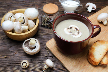 Mushroom soup puree of champignon