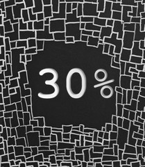 30% OFF written text on black abstract background