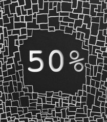 50% OFF written text on black abstract background