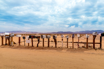 Old US Mailboxes along Route 66 - Picture made during a motorcycle road trip from california over arizona to nevada