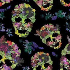Floral skulls with flowers. Seamless pattern. Watercolor