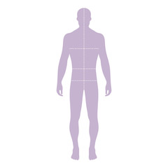 Fashion man template figure silhouette with marked body's sizes