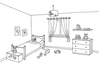 Kid room graphic interior art black white sketch illustration vector