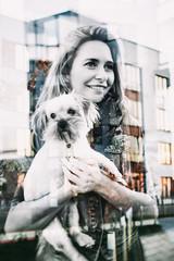 girl with dog, double exposure