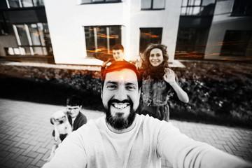 the selfie family dad , double exposure