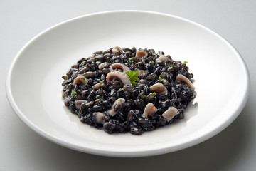 Dish of risotto with squid ink