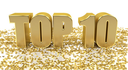 TOP 10 - with stars on white background - High quality 3D Render
