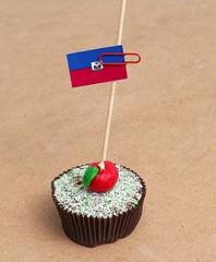 Flag of haiti on cupcake
