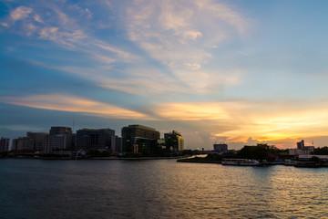 Hospital waterfront evening light.