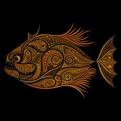 Piranha. Gold fish vector patterns on a black background