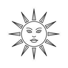 Linear Trendy vector esoteric sun symbol, icon. Alchemy, spirituality, occultism, chemistry, magic tattoo vector symbols. Design esoteric and gothic, witchcraft and mystery, illustration.